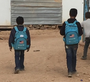 UN backpacks at Zatari